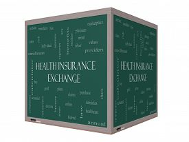 picture of bronze silver gold platinum  - Health Insurance Exchange Word Cloud Concept on a 3D cube Blackboard with great terms such as silver plans levels subsidies and more - JPG