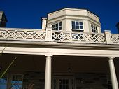 picture of burlington  - upper balcony of the paletta mansion in burlington with royal blue sky - JPG