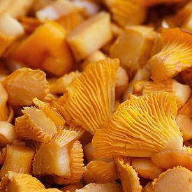stock photo of chanterelle mushroom  - Sliced mushrooms chanterelle mushroom - JPG