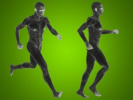 foto of male body anatomy  - Concept or conceptual 3D human man or male skeleton anatomy transparent body over green gradient background - JPG