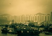 stock photo of typhoon  - A scene of Hong Kong Typhoon Shelter with boats sampans and ships - JPG