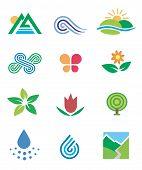 Icons symbols nature landscape