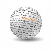 picture of business success  - white ball with bussiness and financial terms written on it - JPG