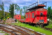 Red Freight Train In The Mountains Scenery
