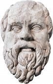 stock photo of socrates  - Carved marble head of Greek philosopher Sokrates - JPG