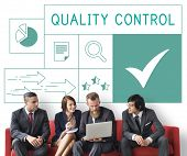 People with illustration of quality product warranty assurance poster