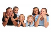 stock photo of happy family  - Happiness family having many children - JPG