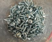 Tapping Screws Made Od Steel, Metal Screw, Iron Screw, Chrome Screw, Screws As A Background, Wood Sc poster