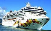 stock photo of cruise ship  - A cruise ship on the Hawaiian waters - JPG