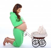 Pregnant Woman Baby Carriage