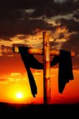 Wooden Cross on Dramatic Sky