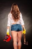 Sexy Strong Woman Feminist With Axe And Helmet poster