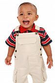 Happy Smiling 1-year old baby boy standing with mouth open talking