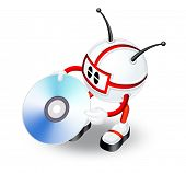 red 3d man with CD