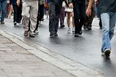 image of wet feet  - Crowd walking  - JPG