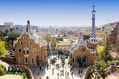 stock photo of ginger bread  - Ginger bread houses designed by Gaudi in Park Guell - JPG