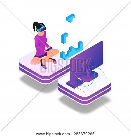poster of Isometric Image Gaming In Virtual Reality In 3d. Vector Illustration Girl Play Video Game On Tv Usin