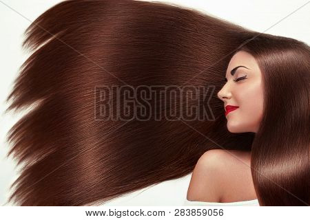 poster of Beautiful Hair. Beauty Woman With Luxurious Long Hair As Background. Beauty Model Girl With Healthy