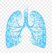 Wet Cough Vector Icon. Blue Lungs, Cold Wet Cough Remedy And Bronchitis Mucolytic poster