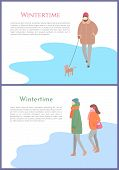 Wintertime Person Walking Dog On Leash Vector. Canine With Owner, Couple Standing On Ice, Winter Sea poster