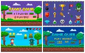 Pixel Art Game In 8 Bit Character Life Info And Scenery Vector. Isolated Icons Set Trophy And Sword, poster