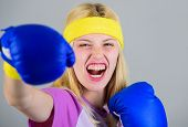 Boxing Sport Concept. Cardio Boxing Exercises To Lose Weight. Woman Exercising With Boxing Gloves. G poster