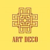 Geometric Ornamental Retro Vintage Art Deco Logo For Design And Decoration. Vintage Retro Ornamental poster