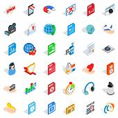 Web Folder Icons Set. Isometric Style Of 36 Web Folder Icons For Web Isolated On White Background poster