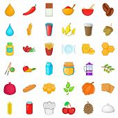 Vegetarian Icons Set. Cartoon Style Of 36 Vegetarian Icons For Web Isolated On White Background poster