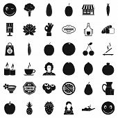 Vegetarian Cafe Icons Set. Simple Style Of 36 Vegetarian Cafe Icons For Web Isolated On White Backgr poster