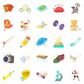 Outside Interest Icons Set. Cartoon Set Of 25 Outside Interest Icons For Web Isolated On White Backg poster