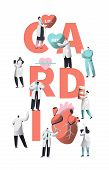 Medical Cardiology Worker Care Heart Health Typography Banner. Team Character For Poster Background. poster