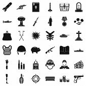 War Army Icons Set. Simple Style Of 36 War Army Icons For Web Isolated On White Background poster