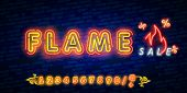 Neon Light Flame Sale Promotion Banner, Price Tag, Discount. Swatch Color Control. Flame Sale. Hot N poster