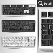 Pc keyboards. Different colors. Black, silver, white/