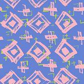 Tie Dye Japanese Geometric Summer Seamless Pattern. Geo Wabi Sabi Minimalist Kimono Print. Scribble  poster