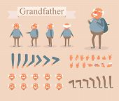 Grandfather For Animation. Poses Front, Rear, Side, Three Quarter. Creation Set. Collection Of Emoti poster