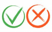 Tick And Cross Sign Elements. Buttons For Vote, Election Choice, Check Marks, Approval Signs Design. poster