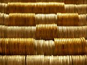 Horizontal Row Of Silver Coins And Gold Coins. Finance Saving Money And Business Concept. poster