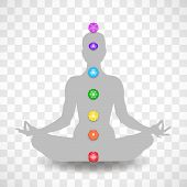 Human Body In Yoga Lotus Asana And Seven Chakras Symbols Isolated On Transparent Background poster