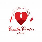 Cardiology Vector Conceptual Logo Created With Red Heart Shape And An Ecg Chart. Cardiovascular Illn poster