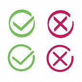 Crosses And Ticks Signs. Green Tick And Red Cross, Ok And Crossing Check Mark Vector Icons In Flat S poster