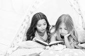 Girls Best Friends Read Fairy Tale Before Sleep. Best Books For Kids. Children Read Book In Bed. Rea poster