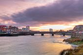 Limerick city scenery at sunset, Ireland