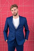 Man Well Groomed Manager Wear Elegant Formal Suit Pink Background. Manager Confident Wear Perfect Ou poster