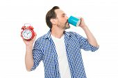 Waking Up Refreshed And Energized. Bearded Mature Man Drinking Coffee With Clock In Hand. Mature Man poster