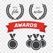 Awards For Best Film. Award Nomination Vector. Medal Award For Best Movie poster