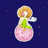 Vector Illustration Of Young Redhead Girl With Headphones, Sitting On Pink Cartoon Moon And Listenin poster