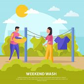 Flat Colored Lazy Weekends People Composition With Weekend Wash Man And Woman Hang Laundry Vector Il poster