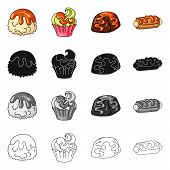 Vector Design Of Confectionery And Culinary Icon. Collection Of Confectionery And Product Stock Vect poster